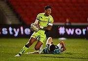 Sale Sharks wing Denny Solomona spots a trap and breaks through to score his first try of the night during the The Aviva Premiership match Sale Sharks -V- London Irish  at The AJ Bell Stadium, Salford, Greater Manchester, England on September 15, 2017. (Steve Flynn/Image of Sport)