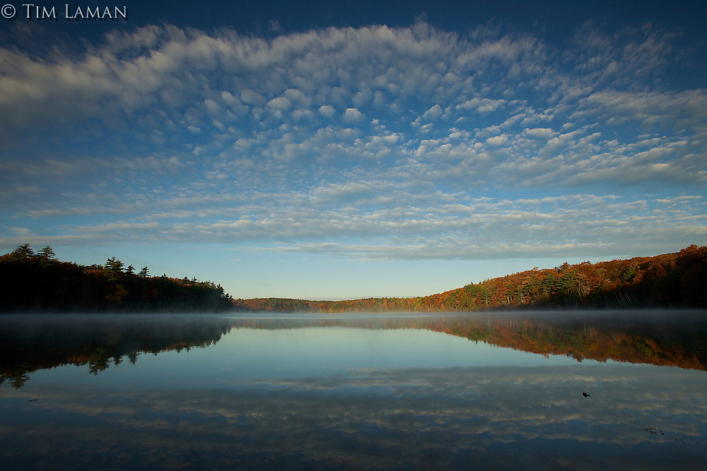 Sunrise at Walden Pond in the fall.