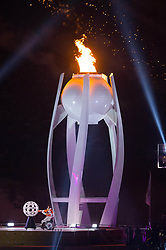 March 9, 2018 - Pyeongchang, South Korea - The cauldron is lit during Opening Ceremony for the 2018 Pyeongchang Winter Paralympic Games March 9, 2018. Photo by Mark Reis (Credit Image: © Mark Reis via ZUMA Wire)