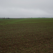Fields in Pozieres, France. Almost 100 years later the marks of WWI trenches are still visible. The Battle of Pozières was a two week struggle (23 July – 7 August 1916) by British and Australian divisions for the capture of the village of Pozieres during  the 1916 battle of the Somme.
