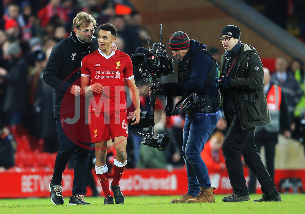 Liverpool manager Jurgen Klopp congratulates Trent Alexander-Arnold at full time - Mandatory by-line: Matt McNulty/JMP - 26/12/2017 - FOOTBALL - Anfield - Liverpool, England - Liverpool v Swansea City - Premier League