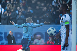 March 11, 2018 - Bronx, New York, United States - New York City FC defender ANTON TINNERHOLM (3) celebrates his first goal in MLS during a regular season match at Yankee Stadium in Bronx, NY.  NYCFC defeats LA Galaxy 2 to 1. (Credit Image: © Mark Smith via ZUMA Wire)