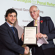 Digby Nelson presenting the John Sunley prize to Zarek Khan. The Howard League for Penal Reform 'Policing the community' conference and Community Awards 2017. The King's Fund, London, 8 November 2017
