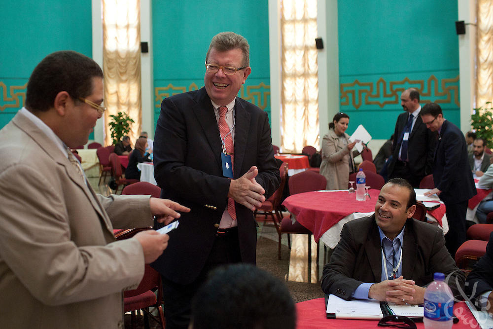 Dr. Ronald Meinardus, Regional Director of the Friedrich Naumann Foundation for Liberty (FNF) speaks with participants at a FNF sponsored conference on Liberalism and civic state building in Benghazi, Libya December 17, 2011.  (Photo by Scott Nelson, for Der Spiegel)