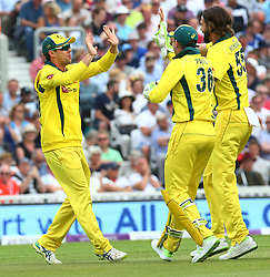 June 13, 2018 - London, England, United Kingdom - Travis Head of Australia celebrate the catch of England's Jonny Bairstow bowled by Kane Richardson of Australia.during One Day International Series match between England and Australia at Kia Oval Ground, London, England on 13 June 2018. (Credit Image: © Kieran Galvin/NurPhoto via ZUMA Press)