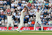James Anderson of England has an unsuccessful appeal for an LBW against Shikhar Dhawan of India during day two of the fourth SpecSavers International Test Match 2018 match between England and India at the Ageas Bowl, Southampton, United Kingdom on 31 August 2018.