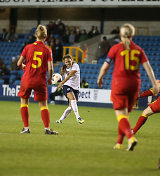 England's Jessica Clarke (Lincoln Ladies) shoots - Photo mandatory by-line: Robin White/JMP - Tel: Mobile: 07966 386802 26/10/2013 - SPORT - FOOTBALL - The Den - Millwall - England Women v Wales Women - World Cup Qualifier - Group 6