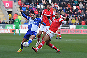 Rotherham United player Kyle Vassell (7) and Bristol Rovers midfielder Liam Sercombe (7) during the EFL Sky Bet League 1 match between Rotherham United and Bristol Rovers at the AESSEAL New York Stadium, Rotherham, England on 18 January 2020.