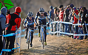 SHOT 1/12/14 4:24:57 PM - James Driscoll (#6) of Park City, Utah and Raleigh Clement teammate Allen Krughoff (#16) of Boulder, Co. compete at the 2014 USA Cycling Cyclo-Cross National Championships at Valmont Bike Park in Boulder, Co.  (Photo by Marc Piscotty / © 2013)