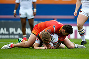 Bradford Bulls full back Ethan Ryan (2) is tackled during the Kingstone Press Championship match between Sheffield Eagles and Bradford Bulls at, The Beaumont Legal Stadium, Wakefield, United Kingdom on 3 September 2017. Photo by Simon Davies.