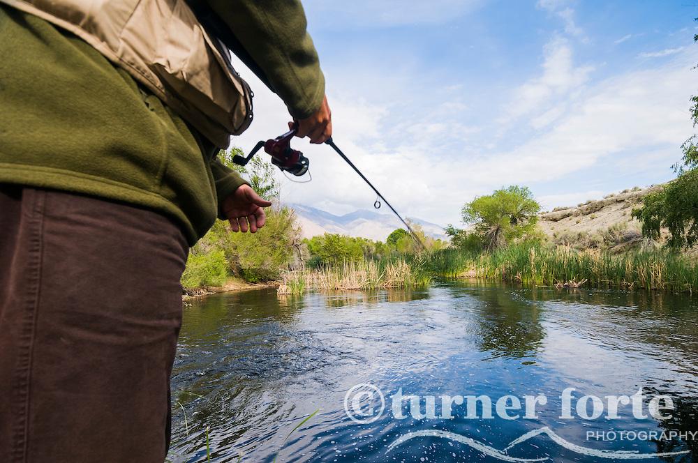 A fisherman throws his line in Owens River just below Manzanar Reward Road, Eastern Sierras, California.