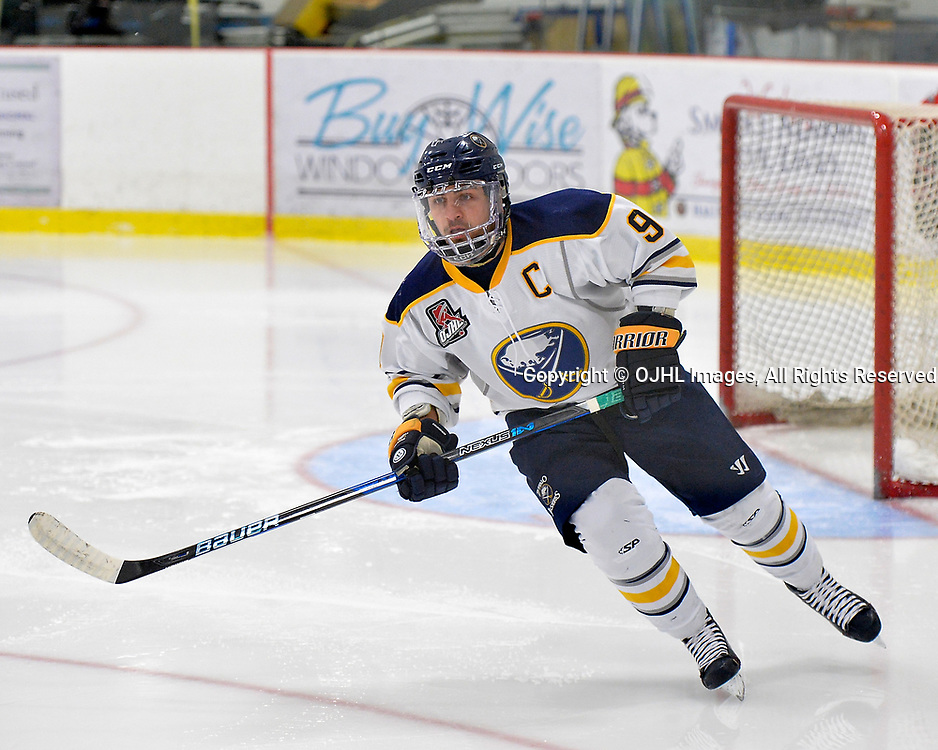 GEORGETOWN, ON  - NOV 4,  2017: Ontario Junior Hockey League game between the Georgetown Raiders and Buffalo Jr. Sabres. Christian DiFelice #9 of the Buffalo Jr. Sabres follows the play during the first period.<br /> (Photo by Shawn Muir / OJHL Images)