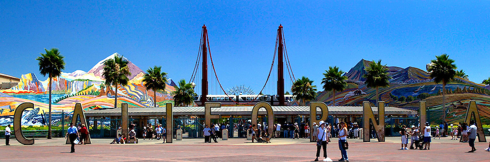 Jul 01, 2003; Anaheim, California, USA; Disney's California Adventure Theme Park located in Orange County right across the entrance to Disneyland. Panoramic view of lettering during the day.