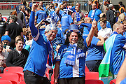Glossop fans during the FA Vase Final between Glossop North End and North Shields at Wembley Stadium, London, England on 9 May 2015. Photo by Phil Duncan.