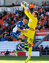 Ian Henderson of Rochdale clashes with Kyle Letheren of Blackpool   - Mandatory byline: Matt McNulty/JMP - 07966386802 - 15/08/2015 - FOOTBALL - Bloomfield Road -Blackpool,England - Blackpool v Rochdale AFC - Sky Bet League One