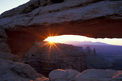 Canyonlands National Park, UT..Mesa Arch at sunrise.  Island in the Sky district.  Sandstone.