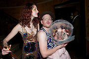 ISADORA TANNER; STEPHEN SALINGER,  Philip Sallon's mass paranoia swine flu birthday party. DRESS: DISEASE RELATED OR SWINE, Home House. Portman Sq. London. 13 November 2009.