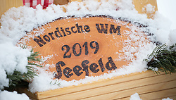 "31.01.2016, Casino Arena, Seefeld, AUT, FIS Weltcup Nordische Kombination, Seefeld Triple, Skisprung, im Bild ein Schild mit der Aufschrift ""Nordische WM Seefeld 2019"" // a sign with "" Nordic WM Seefeld 2019"" on it during the FIS Nordic Combined World Cup Seefeld Triple at the Casino Arena in Seefeld, Austria on 2016/01/31. EXPA Pictures © 2016, PhotoCredit: EXPA/ Jakob Gruber"