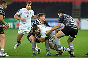 Scott Spedding of ASM Clermont Auvergne is halted by Dan Biggar of Ospreys during the European Rugby Challenge Cup match between Ospreys and ASM Clermont Auvergne at The Liberty Stadium, Swansea on 15 October 2017. Photo by Andrew Lewis.