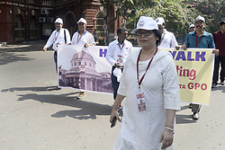 October 2, 2018 - Kolkata, West Bengal, India - Chief Postmaster General, West Bengal circle Arudndhuti Ghosh during the heritage walk to celebrate 150th anniversary of General Post Office. Employees of General Post Office or GPO participate in a heritage walk organized to celebrate 150th anniversary of General Post Office. (Credit Image: © Saikat Paul/Pacific Press via ZUMA Wire)
