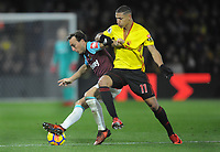 Football - 2017 / 2018 Premier League - Watford vs. West Ham United<br /> <br /> Richarlison of Watford has his shirt pulled by Mark Noble, at The London Stadium.<br /> <br /> COLORSPORT/ANDREW COWIE
