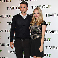 "PARIS, FRANCE - NOVEMBER 4: Justin Timberlake and Amanda Seyfried attend ""In Time"" Photocall at the Bristol Hotel on November 4, 2011 in Paris, France. (Photo by Tony Barson/BARSONIMAGES)"