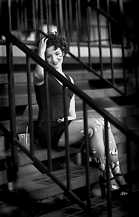Fashion shot Punk Rock girl on steps .