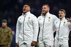 Nathan Hughes, Brad Shields and Richard Wigglesworth of England sing the national anthem - Mandatory byline: Patrick Khachfe/JMP - 07966 386802 - 24/11/2018 - RUGBY UNION - Twickenham Stadium - London, England - England v Australia - Quilter International