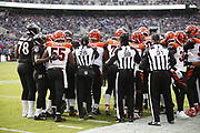 NFL officials sort out a melee during the Baltimore Ravens NFL week 11 regular season football game against the Cincinnati Bengals on Sunday, Nov. 18, 2018 in Baltimore. The Ravens won the game 24-21. (©Paul Anthony Spinelli)