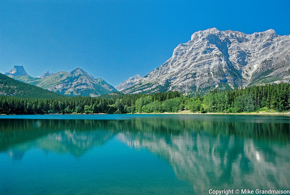 Canadian Rocky Mountains reflected in Wedge Pond <br /> Waterton Lakes National Park<br /> Alberta<br /> Canada