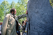 Russian Nobel prize novelist Alexander Solzhenitsyn visits the Memorial to Victims of Repression who died in the Gulag camps after arriving by train returning to his homeland from exile in America June 5, 1994 in Khabarovsk, Russia. Solzhenitsyn was expelled from the Soviet Union in 1974 but returned after the fall of the Soviet Union.