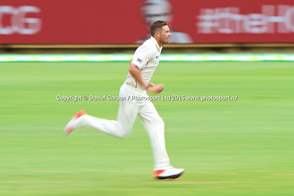 Tim Southee of the New Zealand Black Caps runs in to bowl during Day 5 on the 17th of November 2015. The New Zealand Black Caps tour of Australia, 2nd test at the WACA ground in Perth, 13 - 17th of November 2015.   Photo: Daniel Carson / www.photosport.nz