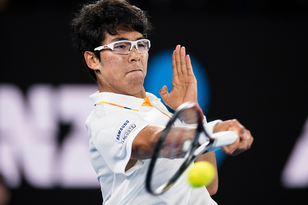 Hyeon Chung of South Korea during the 2018 Australian Open on day 12 in Melbourne, Australia on Friday night January 26, 2018.<br /> (Ben Solomon/Tennis Australia)