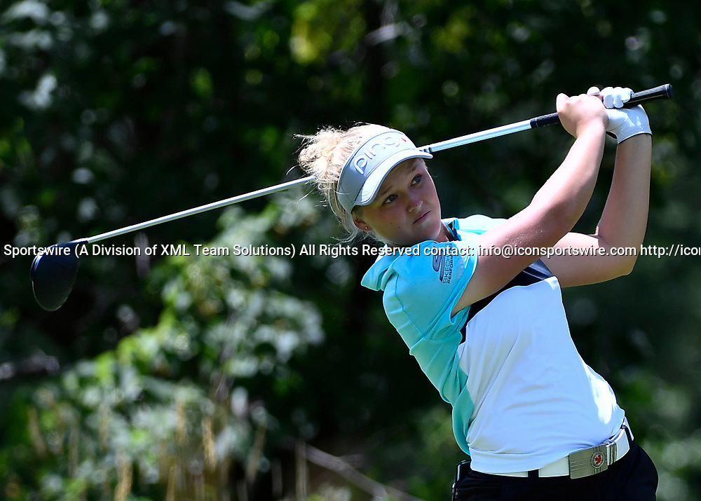 OLYMPIA FIELDS, IL - JULY 01: Brooke Hendersen of Canada plays the ball from the fifth tee during the third round of the 2017 KMPG PGA Championship at Olympia Fields on July 1, 2017 in Olympia Fields, Illinois. (Photo by Quinn Harris/Icon Sportswire)