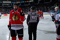 KELOWNA, CANADA - MARCH 2:  Jake Gricius #14 of the Portland Winterhawks skates to the bench to celebrate a goal against the Kelowna Rockets on March 2, 2019 at Prospera Place in Kelowna, British Columbia, Canada.  (Photo by Marissa Baecker/Shoot the Breeze)