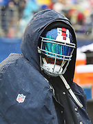 Jan 27, 2019; Orlando, FL, USA; NFC offense of linebacker Olivier Vernon of the New York Giants (54) tries to stay dry in the NFL Pro Bowl football game at Camping World Stadium.  The AFC beat the NFC 26-7. (Steve Jacobson/Image of Sport)