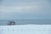 Remote house in coastal landscape Flakstad Flakstadoya  Loftofen Norway