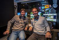 HILVERSUM  - Robert-Jan Derksen, 5 jaar geleden gestopt als touring pro golfer, nu o.a.  commentator bij Ziggo Sport, samen met Timothy Beumer (r) . KOEN SUYK