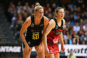 Magic captain Casey Kopua and Tactix goal attack Anna Thompson shoulder to shoulder during the ANZ Premiership netball match - Magic v 170529 ANZ Premiership - Magic v Tactix played at Claudelands Arena, Hamilton, New Zealand on Monday 29 May 2017. Copyright photo: Bruce Lim / www.photosport.nz