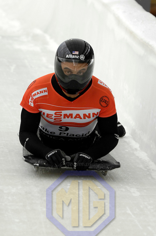 14 December 2007:  Eric Bernotas of the United States competes at the FIBT World Cup Men's skeleton competition on December 14, 2007 at the Olympic Sports Complex in Lake Placid, NY.  The race was won by Eric Bernotas of the United States with a time of 1:49.98.