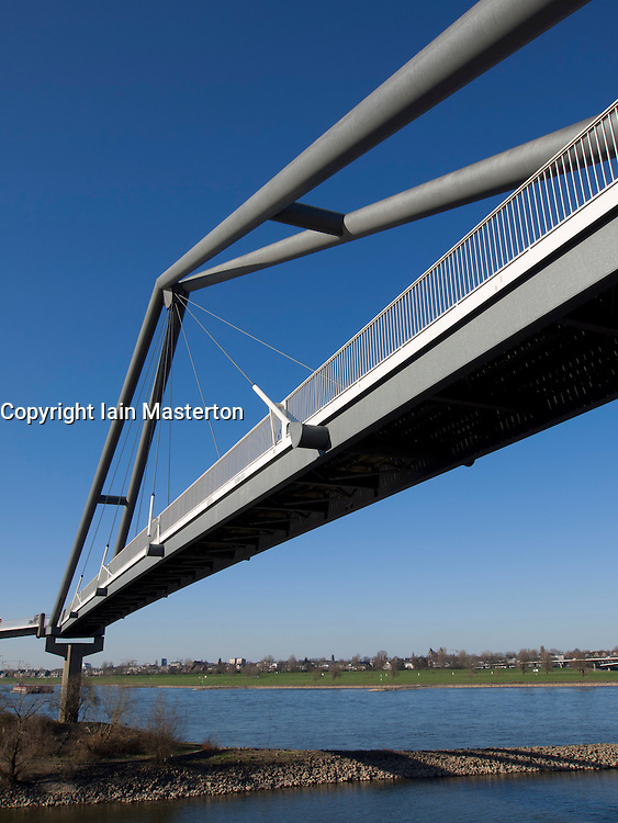 Modern footbridge crossing river Rhine at Media harbour in Dusseldorf Germany