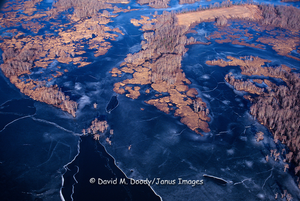Aerial view of winter ice on  tidal wetlands during Winter on the Chickahominy River, Virginia  (James City County-Charles City County line) Chesapeake Bay Watershed. James River