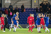 Celebrations for Chelsea Ladies after the final whistle during the UEFA Women's Champions League quarter final second leg match between Chelsea Ladies and Montpellier Feminines at the Kings Sports Ground, New Malden, United Kingdom on 28 March 2018. Picture by Robin Pope.