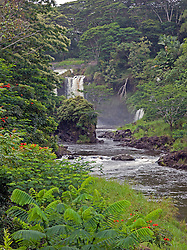 Hilo, Hawaii:  The Wailuku River carves waterfalls and deep pools -- locally called the Boiling Pots -- within its rock banks as it rushes downstream on the northern edge of Hilo's downtown, emptying then into Hilo Bay.