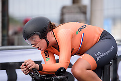 Anne de Ruitter at UCI Road World Championships Junior Women's Individual Time Trial 2017 a 16.1 km time trial in Bergen, Norway on September 18, 2017. (Photo by Sean Robinson/Velofocus)
