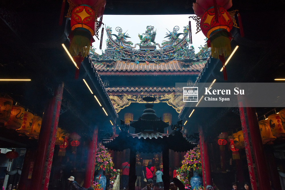 Pilgrims in Tachia Chelan Temple dedicated to Matsu, Taichung, Taiwan
