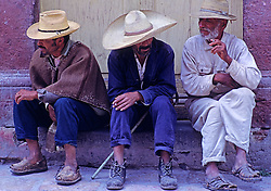 Older Men Sitting Talking Small Village, Mexico