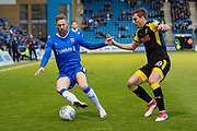 Gillingham FC midfielder Scott Wagstaff (7) and Rotherham United defender Ben Purrington (18) during the EFL Sky Bet League 1 match between Gillingham and Rotherham United at the MEMS Priestfield Stadium, Gillingham, England on 17 April 2018. Picture by Martin Cole.