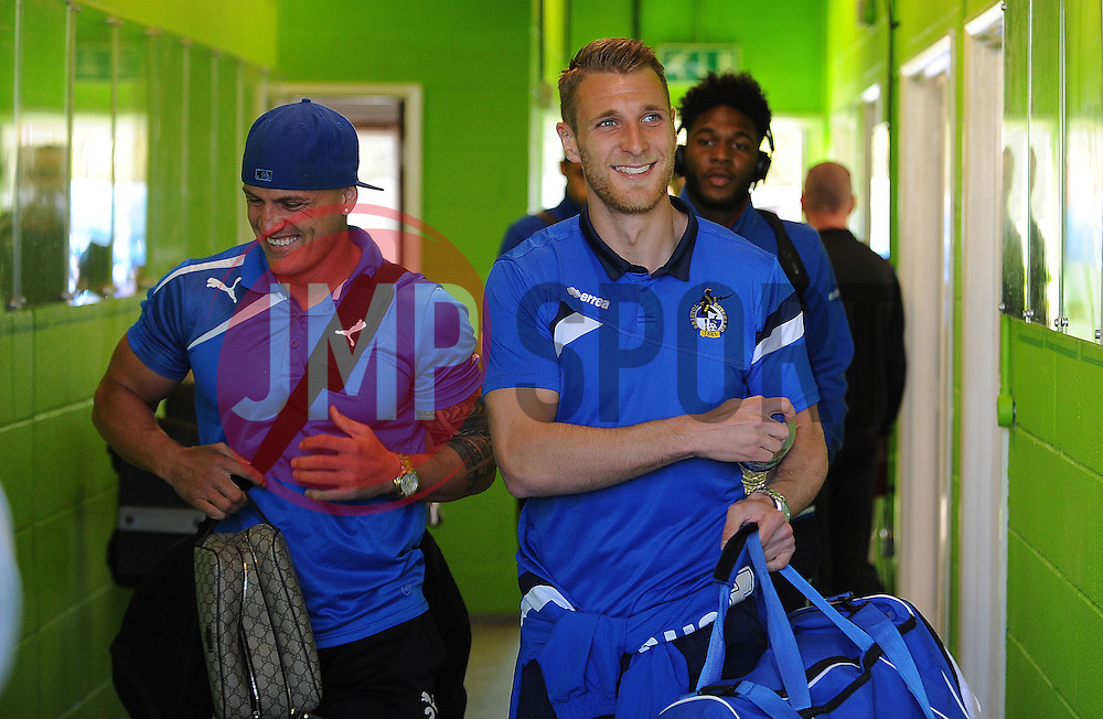 Bristol Rovers' Lee Brown with Forest Green Rovers's David Pipe - Photo mandatory by-line: Neil Brookman/JMP - Mobile: 07966 386802 - 29/04/2015 - SPORT - Football - Nailsworth - The New Lawn - Forest Green Rovers v Bristol Rovers - Vanarama Football Conference