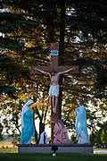A depiction of Jesus on the cross at Calvary is seen at St. Joseph Cemetery in Pilsen, Wis. (Sam Lucero photo)